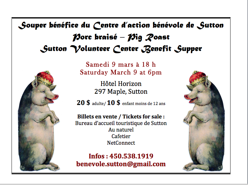 SOUPER BÉNÉFICE SAMEDI 9 MARS 2013, 18 hBENEFIT SUPPER SATURDAY MARCH 9, 6pm.